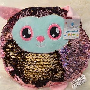 Flip Sequin Animal Pillow Pink Lamb Decor Girl